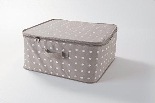 Compactor RAN8108 Set di 3 Custodie Rivoli per Vestiti con cerniera, Chiusura lampo, Antipolvere, Polipropilene, Marrone/Bianco, 46 x 46 x H. 20.5 cm
