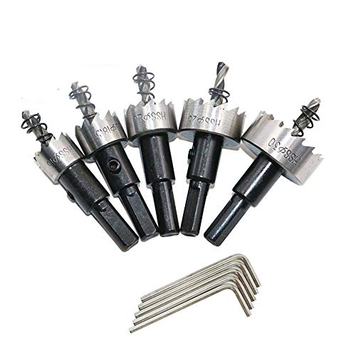 XJF Juego de 5 brocas de sierra de agujero HSS para acero inoxidable, juego de brocas de aleación de acero, para cortador de metal de aluminio de acero inoxidable, 5/20/25/30 mm