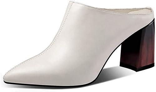 DUUQILI Las mujeres Hauszapatos de Moda Puntiagudas Sandalias de tacón Alto Casual Lazy zapatos Damas Hauszapatos