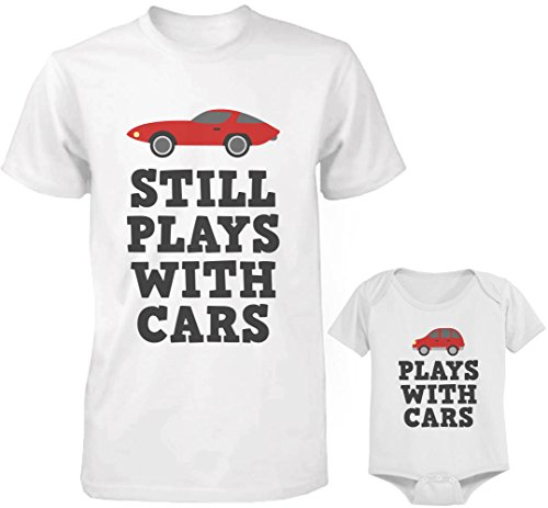 365 Printing Still Plays with Cars White Daddy and Baby - Camiseta y body a juego - Blanco -...