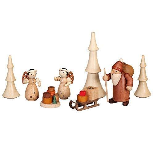 Uitrusting beschermende kerstman + slee, 2 engel + geschenken, 3 boompjes WK 10 cm, engel 6,5 cm, boom groot 12,5 cm NIEUW Ertsgebergte volkskunst handwerk accessoires piramide Schwibbogen figuren
