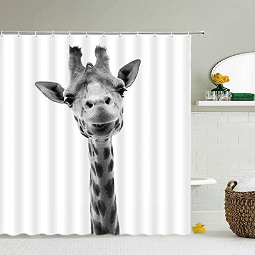 WILLMEIH Wasserdicht Duschvorhang Giraffe Tier 95