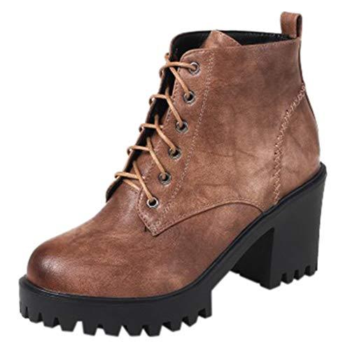Yowablo Stiefel Damen Schuhe Herbst Runde Zehen Schnür Leder Stiefel Schuhe Flache Plattform (39,Khaki)