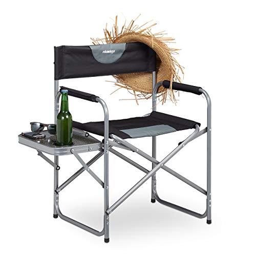 Relaxdays, schwarz Regiestuhl, klappbarer Campingstuhl für Garten, Festival & Angeln, Tisch mit Getränkehalter