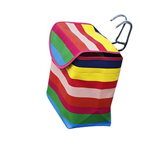 heshuo Cesta de lona cubierta para bicicleta, plegable, cesta frontal, bolsa de almacenamiento para motocicleta y vehículos eléctricos (color rosa