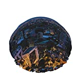 Gorro de ducha reutilizable, con doble capa exterior impermeable para todas las longitudes de pelo (papel pintado mágico noche ciudad Bogotá oscuro)