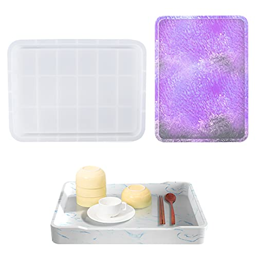 Zayookey Resin Tray Silicone Molds Large Rolling Tray Molds Rectangle Serving Plate Molds with Edges Tray Resin Molds…