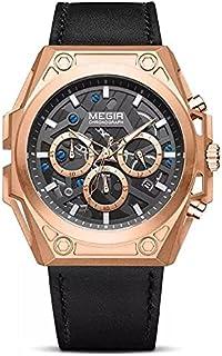 Megir Casual watch For Men Chronograph Leather ML4220G-BK-3 Black Gold