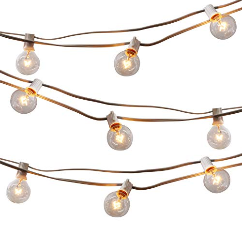 25Ft Dimmable Outdoor String Light, G40 Globe Patio Light with 26 2200K Edison Glass Bulbs(1 Extra), E12 Base White Waterproof Connectable Light for Backyard Porch Balcony Deck Party Decor, ETL Listed