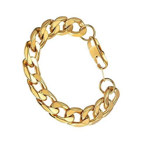 Pulsera de cadena cubana de 13 mm de acero inoxidable 316l para hombre, enlaces a mano, chapado en oro