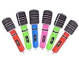 ds.distinctive style Micrófonos inflables para niños 6 Piezas Micrófonos de 24 cm para fiesta Instrumentos musicales inflables Juguetes 80s Accesorios de karaoke