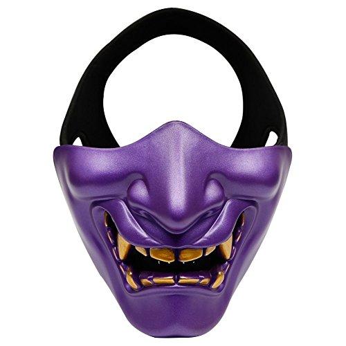 ZTBF Máscara de Media Cara Dorada para Halloween, Cosplay, Disfraces, Fiestas y películas, para Airsoft, Paintball, BB, Pistola, Caza, Tiro