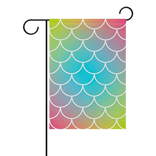 Nijio Vintage Rainbow Mermaid Moire Striped Garden Flag Flags Yard Banner for Outside House Flower Pot Double Side Print 40 x 28 Inch