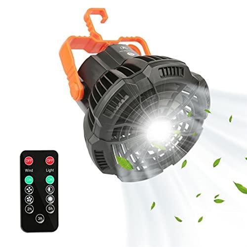 Camping-Fan mit LED-Licht 5200mAh-Batterie tragbare Faltzelte Deckenventilator, mit USB-Wiederaufladbarer 3-Gang-Fernbedienungssieb-Fan, für Camping Home Office