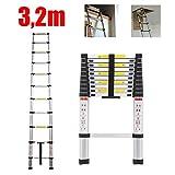 3,2m Leiter Ausziehbar Teleskopleiter Aluleiter für Wohnmobil/Dachboden/Büro/Warenhaus Mehrzweckleiter leicht zu tragen 150 Kg Belastbar