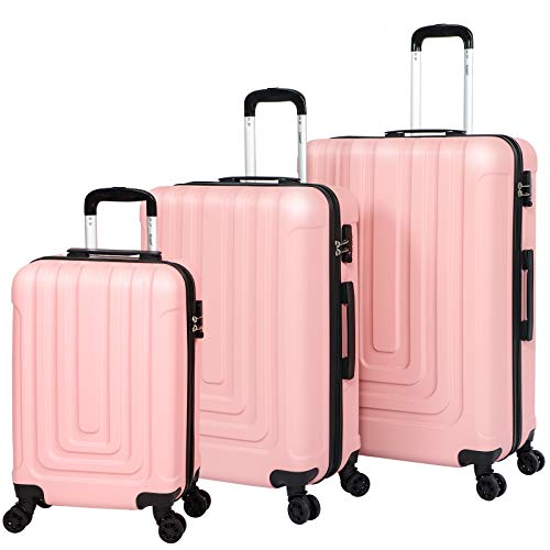 Suitcase Set Luggage Sets of 3 with 4 Spinner Wheels ABS Hard Shell Lightweight TSA Lock Suitcase Large Medium Small -20' 24' 28' (Pink)