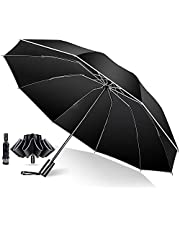 折疊傘 自動開合 [10根傘骨逆折式 & 附帶反光條] 折疊傘 大碼 男款 傘 適用于臺風 梅雨季節 超防水 晴雨兩用 防紫外線 附帶收納袋 男款 女款