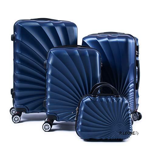 R.Leone Valigia da 1 pezzo Fino a Set 4 Trolley Rigido grande, medio, bagaglio a mano e beauty case 4 ruote in ABS 2092 (Blu, Set 3 S M L)