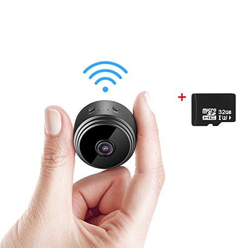TOROTON Mini Kamera mit Einer 32G SD-Karte, WiFi Überwachungskamera Full HD 720P Tragbare Kleine Nanny Cam mit Bewegungserkennung und Infrarot Nachtsicht, für den Außen- und Innenbereich