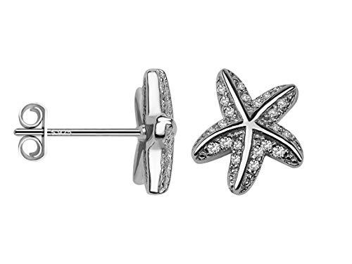 SOFIA MILANI - Damen Ohrringe 925 Silber - mit Zirkonia Steinen - Seestern Ohrstecker - 20575