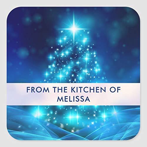 Etiquetas cuadradas para decoración de árbol de Navidad de color azul eléctrico...