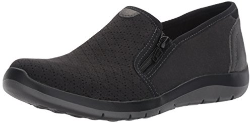 Aravon Women's Wembly Side Zip Fashion Sneaker, Black, 7.5 2A US
