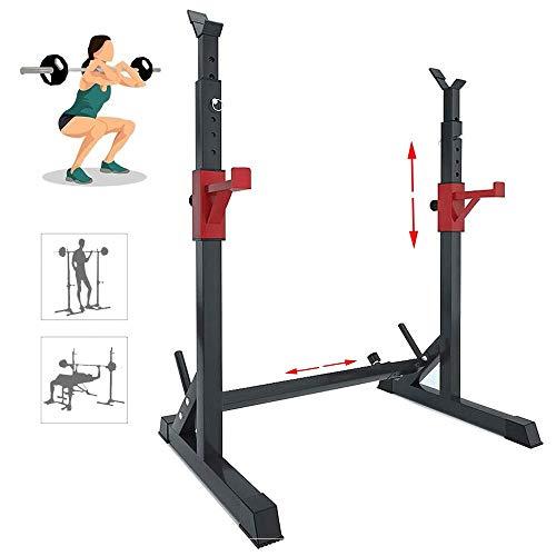 ZDXR8 Estante para Sentadillas Soporte Banco Press Fitness Rack Ajustable Pesas con...