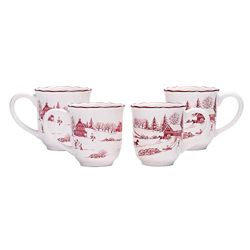 Bico Toile De Jouy Winter Wonderland Ceramic 16oz Mugs, Set of 4, for Coffee, Tea, Drinks, Microwave & Dishwasher Safe