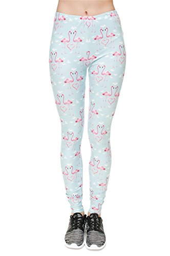 kukubird Printed Patterns Women's Yoga Leggings Gym Fitness Running Pilates Tights Skinny Pants 8 to 12 Stretchable - Flamingo Hearts