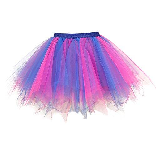 Tutu Damenrock 80er Jahre Neon Tütü Damen Rock Tüllrock Petticoat Pettiskirt 50er Vintage Tutu Kurze Ballet Rock Tanzkleid Unterrock Unterkleid Pink für Frauen Erwachsene 1980s Fancy Dress (pinkblue)