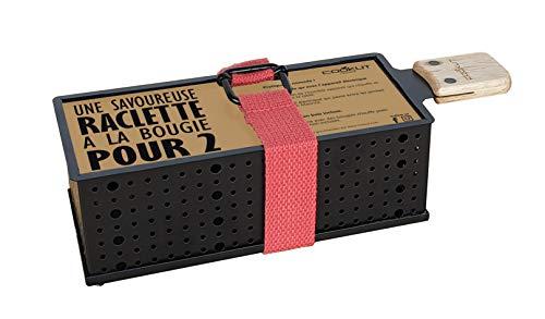 COOKUT - Lumi Raclette à la Bougie pour 2 - Faites Fondre Votre raclette en 3 Minutes - Spatule Bois Incluse - sans électricité