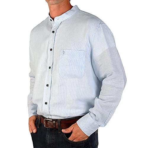 The Celtic Ranch Traditional Irish Grandfather Collarless Shirt, Men's 100% Linen Long-Sleeve Dress Shirt (Blue Pin Stripe, 2X-Large)