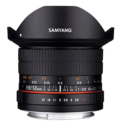 Samyang F1112101101 - Objetivo fotográfico DSLR para Canon EF (Distancia Focal Fija 12mm, Apertura f/2.8-22 ED AS NCS, Ojo de Pez), Negro