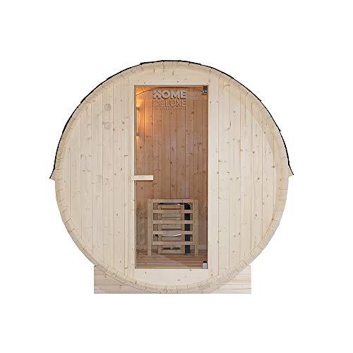 Home Deluxe - Outdoor Fasssauna 4 Personen - Lahti L mit Elektroofen - Holz: Fichtenholz - Maße: BxTxH: ca. 194,8cm x 191,7cm x 180cm - inkl. komplettem Zubehör | Gartensauna, Außensauna, Sauna