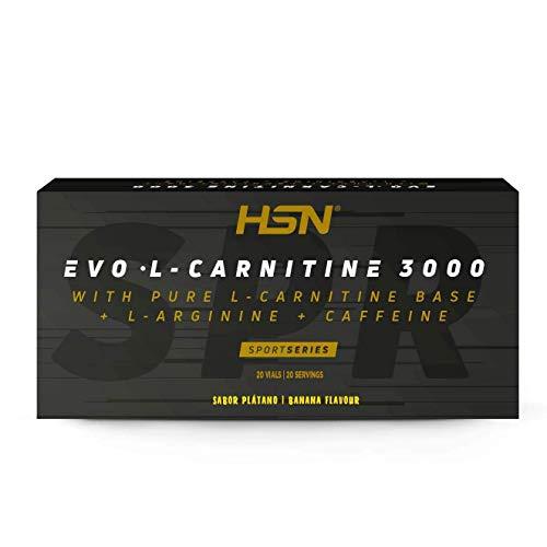 Carnitina Líquida de HSN Evo L Carnitine 3000 | Con L-Carnitina + Arginina + Cafeína + Vitamina B6 | Vegetariano, No-GMO, Sin Gluten, Sin Lactosa | Sabor Banana | 20 Viales de 10ml