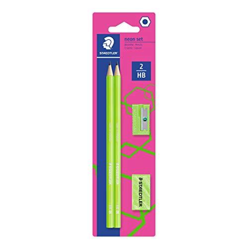 STAEDTLER Bleistift Noris eco, hohe Bruchfestigkeit, rutschfeste Soft-Oberfläche, innovatives Wopex-Material, Härtegrad HB, Set auf Blisterkarte, Farbe: neon-grün, 180FSBK2P3