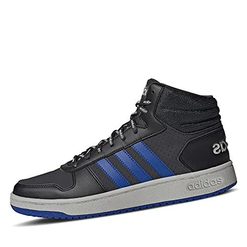 adidas Herren Hoops 2.0 Mid Basketballschuh, Carbon/Team Royal Blue/Grey, 43 1/3 EU