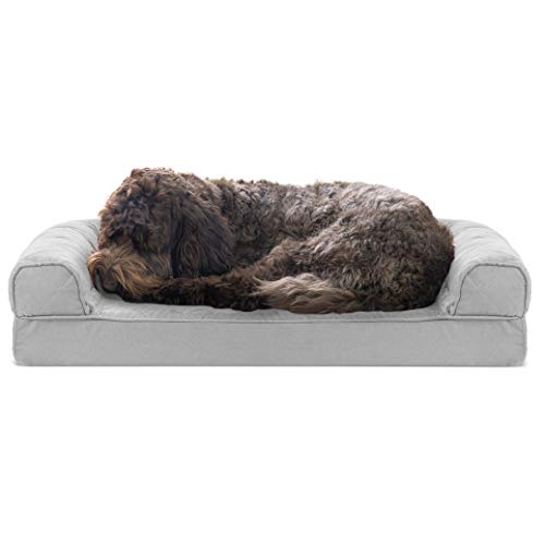 Furhaven Pet Dog Bed - Cooling Gel Memory Foam Quilted Traditional Sofa-Style Living Room Couch Pet Bed with Removable Cover for Dogs and Cats, Silver Gray, Medium