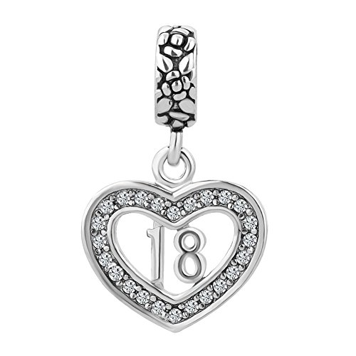 Uniqueen Sweet 18 Birthday Dangle Heart Charms Bead for Charm Bracelet