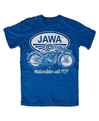 Jawa motorcycles T-shirt heren Summer Fashion Tee Shirt, blauw motorfiets cult Ostalgie motorfiets 350,700,50
