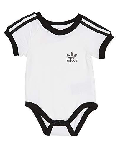 adidas Originals 3 Stripes Body Baby Strampler Kinder Unterwäsche Trefoil Logo, Größe:86, Farbe:Weiß/Schwarz