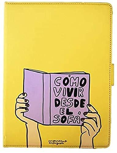 """Monstruo Espagueti Funda Tablet Universal 10.1"""" Pulgadas - Tipo Libro, con Diseño Cómo Vivir Desde el Sofá de Color Amarillo"""