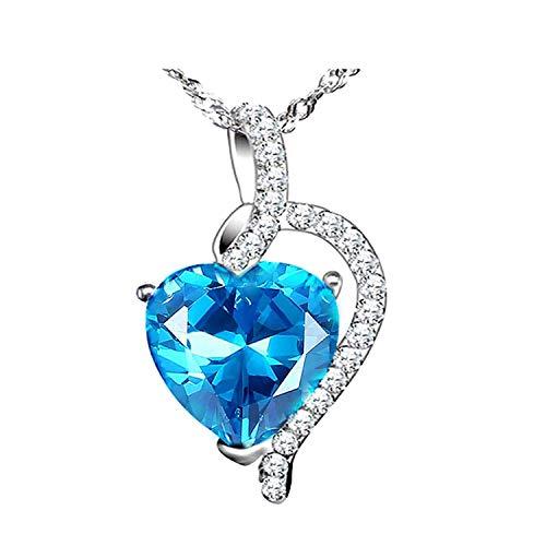 Cerslimo Collier cœur Femme Argent sterling 925Cristal Bleu à partir de Swarovski Pendentif Collier Amour Bijoux