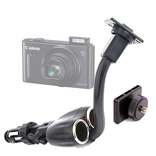 DURAGADGET Doble Cargador para Mechero del Coche + Soporte/Adaptador con Tornillo Universal para Canon Powershot SX530HS | SX610HS | SX710HS