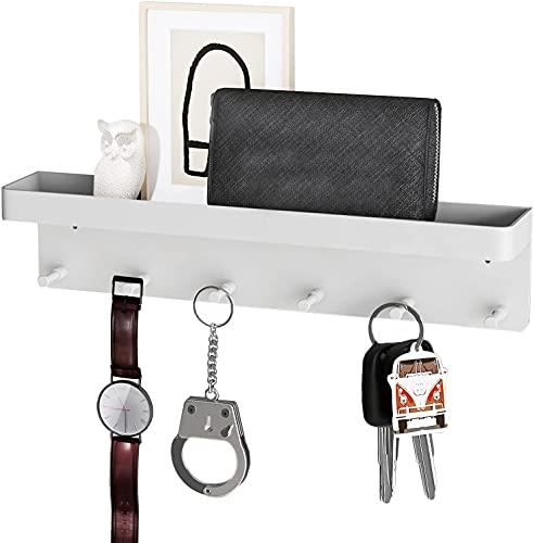 Schlüsselbrett, Schlüsselhalter mit 6 Haken, Selbstklebend Schlusselaufbewahrung, Schlüsselhalter Zauberstab für Büro, Küche, Bad, Weiß … …