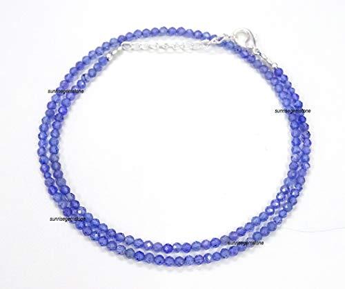 Collar de tanzanita con cuentas de tanzanita azul natural, collar de cuentas de tanzanita, pulsera de cuentas de piedra natal de diciembre