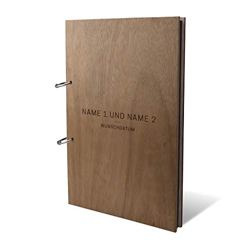 Hochzeit Fotoalbum Okoume Holz Gravur individuell Holzcover mit 50 Fotokarton 300g/qm schwarzen Innenseiten (25 Blätter) DIN A4 hoch 215 x 302 mm - Schlicht
