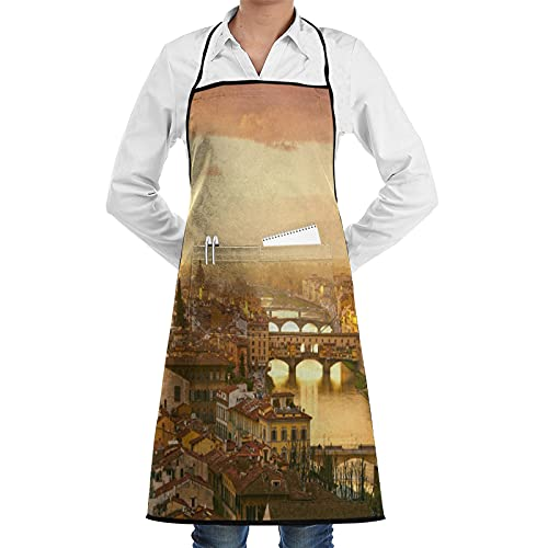 LOSNINA Delantal de cocina impermeable para hombres delantal de chef para mujeres restaurante de jardinería barbacoa cocinar hornear,Vista del atardecer del puente Ponte Vecchio de Florencia, Italia.