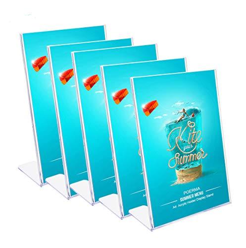 POERMA A4 Ständer Tischaufsteller Menükartenhalter Werbeaufsteller aus Acryl für Bilderrahmen, Werbeaktionen, Restaurants, Dokumente, 5 Stück