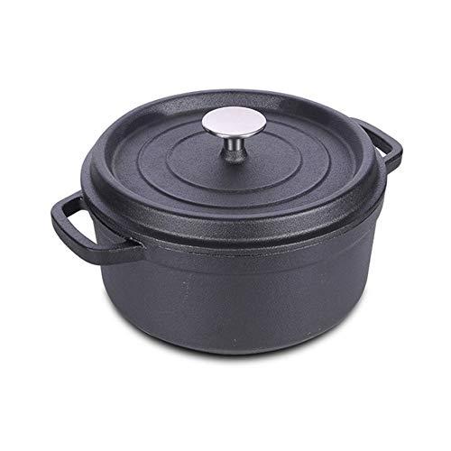 SHUHAO Casserole en Fonte Ovale, Fonte Cocotte, 24cm Ovale Noir Induction Casserole avec revêtement Dur émail, pour la Cuisine Cuisson